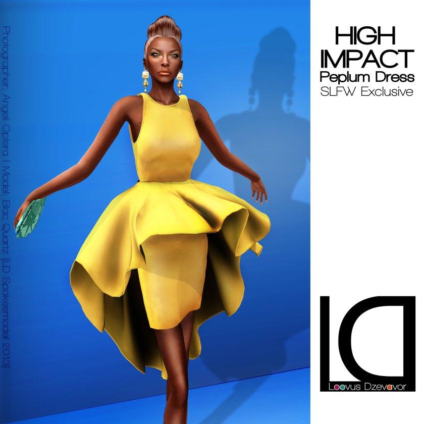 Loovus Dzevavor High Impact Peplum Dress ad for SLFW